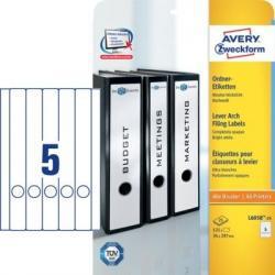 Białe etykiety na segregatory Długie 34x297 mm wąskie grzbiety 125szt. Avery Zweckform