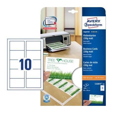 Wizytówki recyklingowane Quick&Clean™ 220g Matowe 100 szt. Avery Zweckform